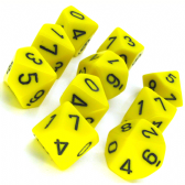 Yellow & Black Opaque D10 Ten Sided Dice Set